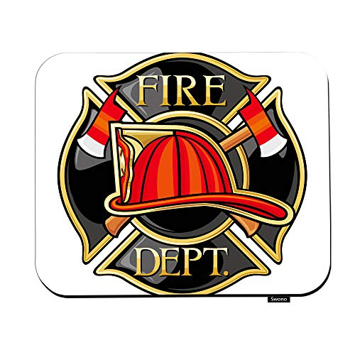 """Swono Firefighters Mouse Pads Fire Firefighters Maltese Cross Symbol Fireman Firetruck Emergency Mouse Pad for Laptop Funny Non-Slip Gaming Mouse Pad for Office Home Travel Mouse Mat 7.9""""X9.5"""""""