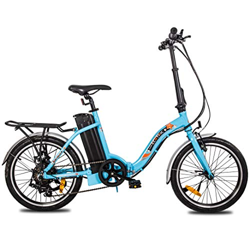 """ECOTRIC 20"""" Folding Ebike Electric Bicycle City Bike Alloy Frame 350W Gear Rear Motor 36V/10AH Removable Lithium Battery Pedal and Throttle Assist LED Display (Blue)"""