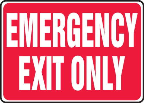 """Accuform Signs MEXT586VP Plastic Safety Sign, Legend""""Emergency EXIT ONLY"""", 7"""" Length x 10"""" Width x 0.055"""" Thickness, White on Red"""