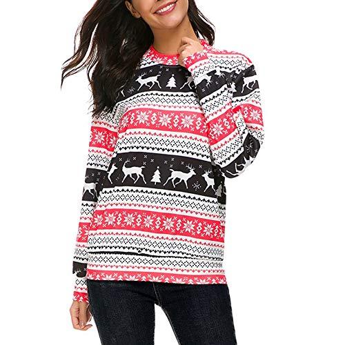 Huihong Womens Weihnachten Bluse Rentier Schneeflocke Drucken Langarm Sweatshirt Tops Pullover Pullover Party Kostüm (Schwarz, XL)