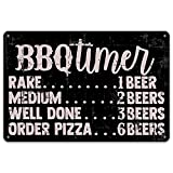 QIONGQI Funny BBQ Timer Quote Metal Tin Sign Wall Decor Retro BBQ Signs with Sayings for Home Kitchen Restaurant Café Decor Gifts