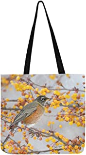 American Robin Feeding On Yellow Berries In Winter Canvas Tote Handbag Shoulder Bag Crossbody Bags Purses For Men And Women Shopping Tote