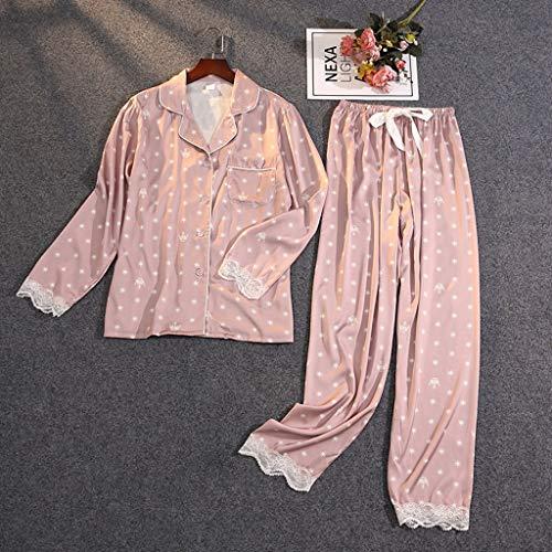 WALNUT Traje de Dos Piezas del Verano de Las Mujeres Pijamas Silida de Hielo Satin Satin Outwear Delgado Pijamas de Encaje (Color : C, Size : Medium)