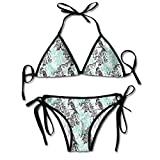 FULIYA Ladie's Halter Swimwear Printed Two Piece Bikini Sets Sexy Swimsuit,Pigeon Bird On A Rose Branch with Butterflies in Secret <span class='highlight'>Garden</span> Classical Print