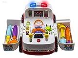 WISHTIME Ambulance Rescue Bump véhicule et Aller avec Divers équipements médicaux, Lumières Musique et Sons médicaux Toy