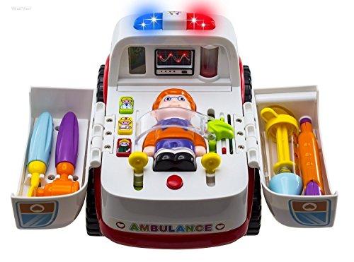 WISHTIME Kinder Rettungswagen Spielzeug Auto - Doktor Rollenspiel Fahrzeug Spielsets, Elektrisches Krankenwagen mit medizinische Geräte, Licht und Musik Spielzeug Geschenk