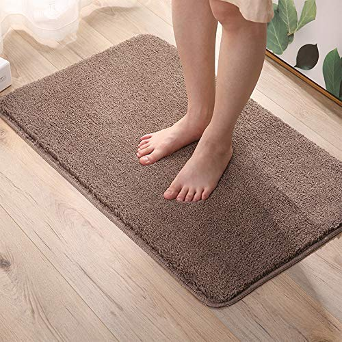 YooHome Badteppiche 40 x 60cm,rutschfeste Badematte,Maschinenwaschbare Badematte,Teppich für Badezimmer,Weichen Mikrofasern für Badewanne, Dusche und Badezimmer(Braun)