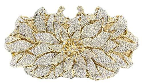 ZHBD Bling Crystal Rhinestone Embragues para Mujer Embrague Bolsa De Embrague, Moda Dama De Honor Lady Chica Novia Cena De Cena Grabados,Oro