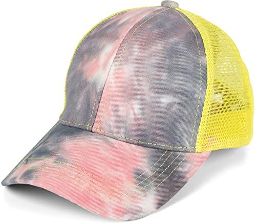 styleBREAKER Damen Ponytail Baseball Cap im Batik Look mit Mesh Einsatz, Basecap, Klettverschluss verstellbar 04023081, Farbe:Rose-Grau-Gelb