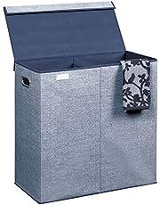 mDesign - Wassorteerder - wasmand - verwijderbaar deksel/geïntegreerde handvatten/draagbaar/opbouwbaar voor compact opbergen/print met structuur/met stevige rand - extra groot