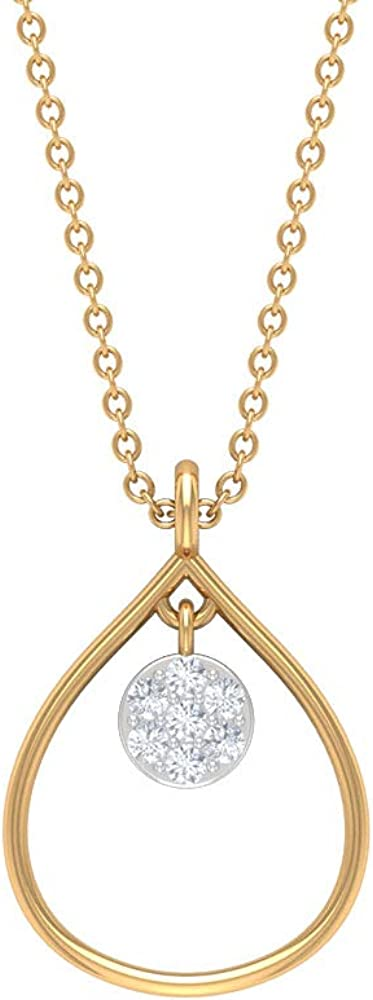 Modern Teardrop Pendant, HI-SI Diamond Cluster Necklace, Pear Shape Drop Pendant, Bridal Wedding Pendant, Statement Chain Necklace, Anniversary Pendant