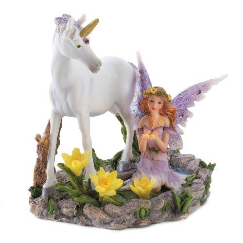 Dragon Crest Bosque mágico Unicornio Hada Figura Acento para el hogar Decor