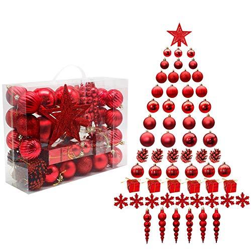 LYLYFAN 60 Piezas de Adornos de Bolas de Navidad inastillables Conjunto de Bolas de árbol de Decoraciones navideñas Adornos Colgantes para Decoraciones de árboles de Navidad