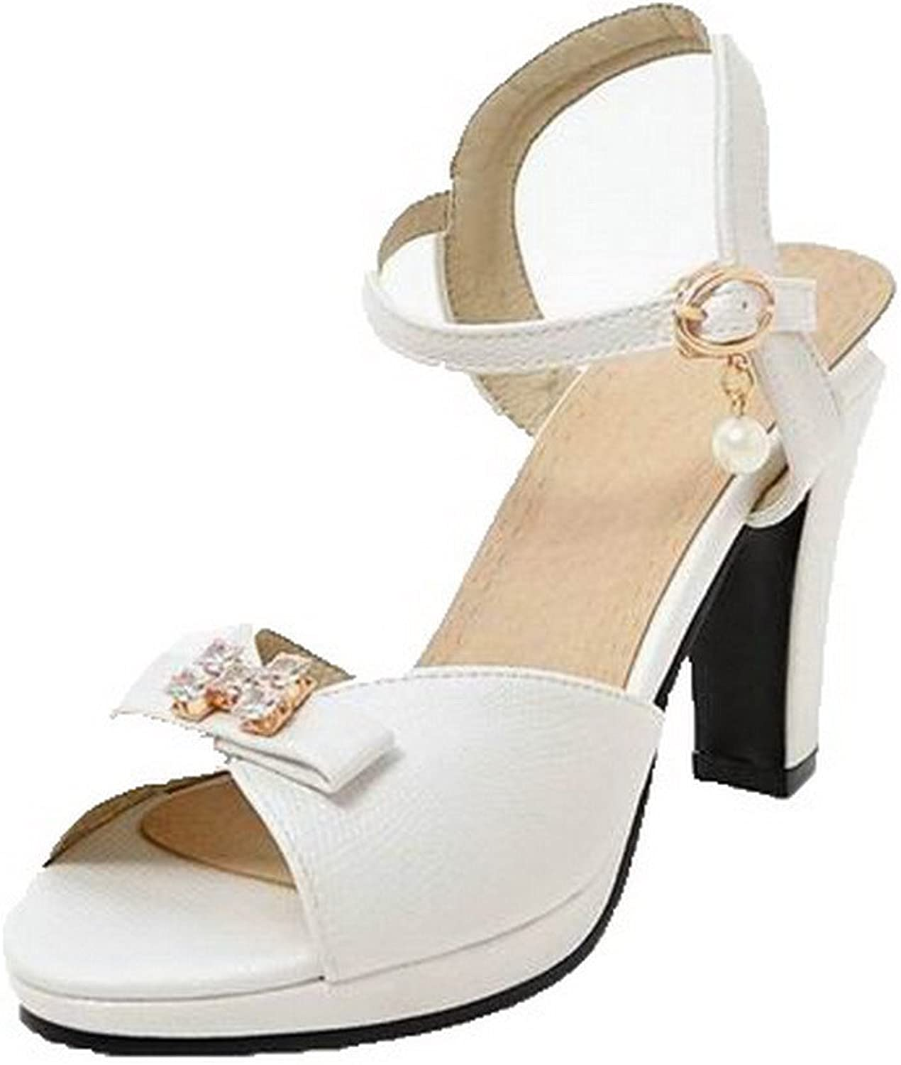 Weenmode Woherrar Pu Pu Pu Open -Toe High klackar Buckle Solid Sandals, AMGLX009579  mode varumärken