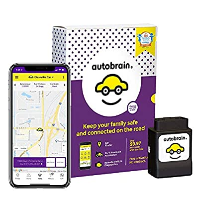 Autobrain GPS Tracker for Vehicles, Cars, Trucks, 1 Yr Data Plan, OBDII Real Time Location Tracking Device, Senior & Teen Driver Monitoring System, Speed & Curfew Alerts, Emergency Roadside Assistance by Autobrain