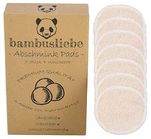 bambusliebe - DAS ORIGINAL - Made in Germany - 7 Waschbare Abschminkpads inkl. Waschsack - 70% Bambus/30% Baumwolle - Waschbar, nachhaltig, langlebig, umweltschonend - Zero Waste