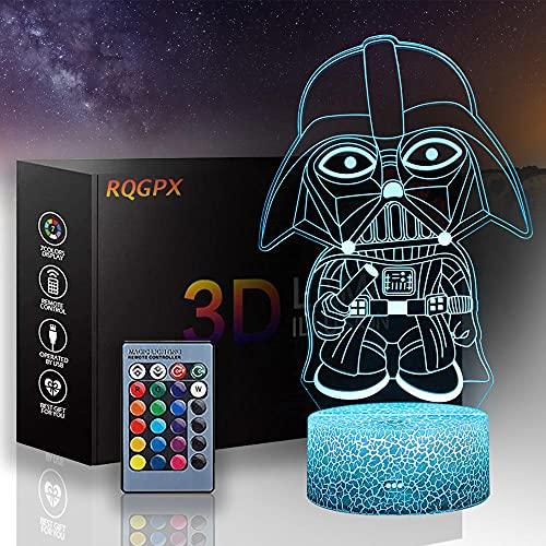 Lámpara de ilusión óptica 3D 3D Luz nocturna Darth Vader B 16 colores regulable USB Powered Control táctil con mando a distancia, regalos creativos para niños de 10 años