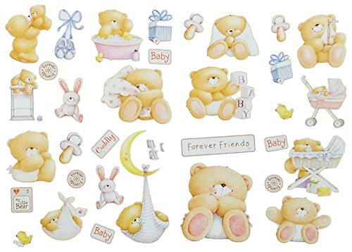 alles-meine.de GmbH 35 TLG. XL Set: Wandtattoo / Sticker - Teddy Bär Forever Friends - Wandsticker Aufkleber für Kinderzimmer Mädchen Jungen Kinder Baby - Wandaufkleber + Fenster..