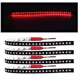 EverBright 4-Pack Red Led Strip Lights for Cars, 30CM 1210 32SMD Waterproof Flowing Neon Lights for Car Truck Motorcycles Golf Cart Decoration Led Interior Exterior with 3M Tape, DC-12V