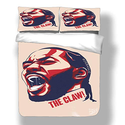 Juego de funda nórdica Kawhi Los Angeles Basketball Player 2 ropa de cama Fun Guy Leonard Clippers Super Star Eat Up The Clock Colcha de tres puntos con 2 fundas de almohada FMVP San Antonio Toronto S