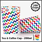 Paricott 200ml Zig Zag Printed Disposable Party Paper Cups for Hot & Cold