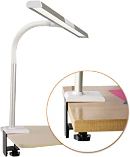 OttLite LED Extra Wide Area Clamp Lamp with 5 Brightness Settings, White