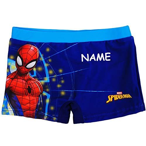 alles-meine.de GmbH Badehose / Badeshorts - Spider-Man - incl. Name - Größe 4 bis 5 Jahre - Gr. 110 bis 116 - für Jungen Kinder Badepants - Boxershorts Shorts mit Bein - Pants - ..
