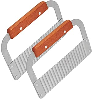 YAKA 2 Pack Crinkle Cutters Crinkle Cutting Tool French Fry Slicer Stainless Steel Blade Wooden Handle Vegetable Salad cuc...