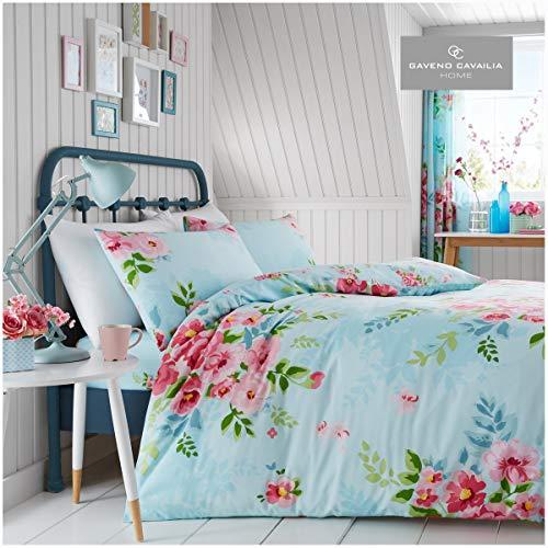 GAVENO CAVAILIA Easycare Floral Duvet Cover Flower Print Botanical Quilt Bedding Set, Turquoise, King