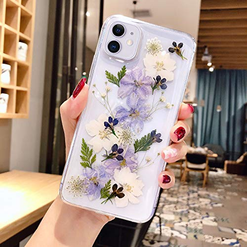 Abbery for iPhone 11 Flower case, Clear Soft TPU Flexible Rubber Pressed Dry Real Flowers Case Blue White Flower Case for iPhone 11 (Navy Flower)