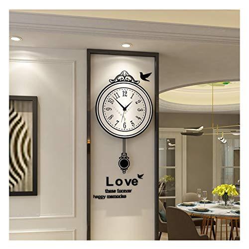 MJJ @Reloj de Pared Reloj de Pared de la Sala de Estar de Moda, no tictac silenciosa clásico Relojes de Cuarzo Decorativo, con Pilas (Size : 40 * 70cm)