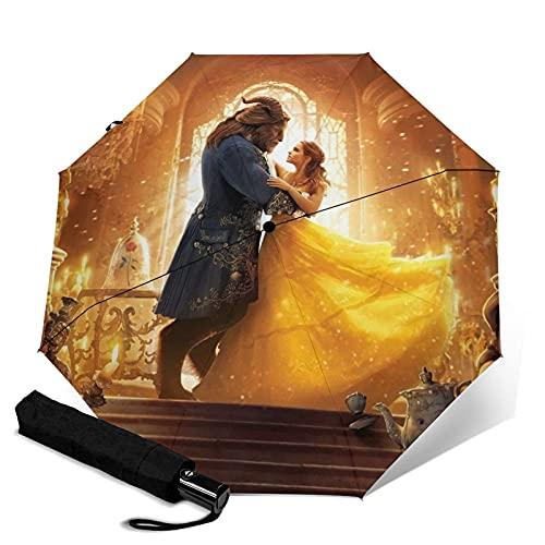 Taschenschirme Beauty Beast Automatisch Tragbar Dreifach Faltbarer Regenschirm, Windschutz Wasserdicht Anti-UV Regenschirm, Automatisches Öffnen/Schließen, Kompakt und Tragbarer Faltschirm