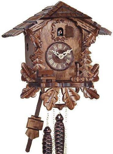 Reloj de cuco de madera auténtica, mecanismo de cuarzo a pilas, llama de cuco, hoja de roble, 26 cm, 10180