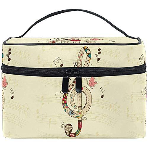 Mignon Notes de Musique Papillon Maquillage Train Case Cosmétique Sac Portable Zip Brosse Sac Organisateur De Stockage