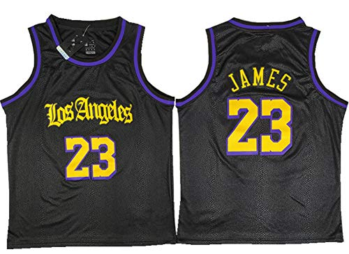 Herren Basketballtrikot Lakers #23 Lebron James Mesh Michael Jordan #23 Chicago Bulls Swingman Basketball-Shirts schwarz-XXL