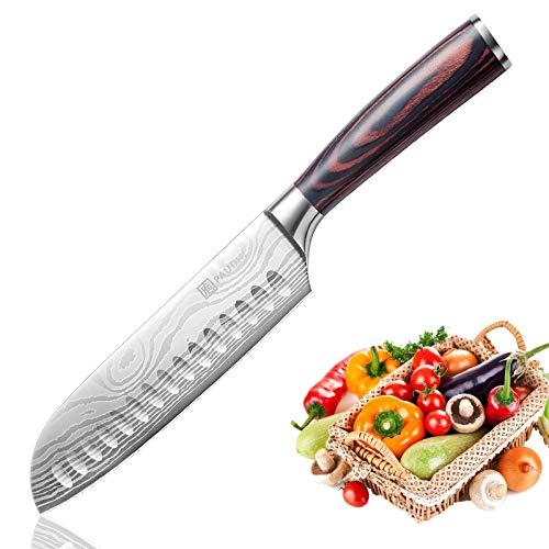 PAUDIN 17cm Santokumesser Kochmesser aus deutschem Messerstahl, Sushi Messer Küchenmesser mit ergonomischem Griff für Haus und Restaurant