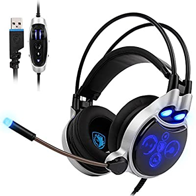 SADES Gaming Headset for PC, 7.1 Surround Sound Computer Gaming Headphones, PC Headset with Noise Canceling Mic Volume Control LED Light for PC Mac Laptop(Black)