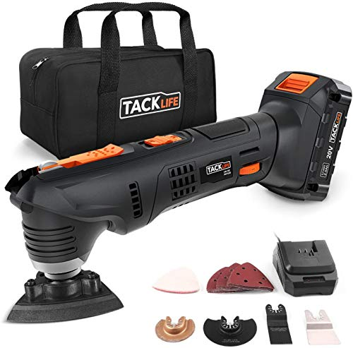 TACKLIFE Oscillating Tool, 20V Max Cordless Multifunctional Tool, 24pcs Accessories, 2.0Ah Li-Ion...