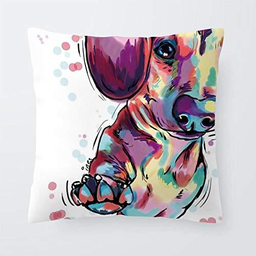 AdoDecor Chihuahua Pug Cojines Francia Bulldog Funda de Almohada Dachshund Retro Sala de Estar Bebé Regalos de Nacimiento Almohada 50 × 50cm con núcleo de Almohada
