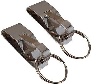 Deezio Secure Key Ring Belt Key Clip-On Key Holder, Spring Stainless Steel (Pack of 2)