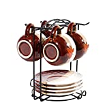 Yontree 6 Hooks Mugs Tree Cup Rack Dishes Organizer Cup Holder Style A