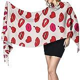 Red Woman-lips-hearts-vector-seamless-pattern comfort bufanda de invierno pashmina chal abrigo para mujer largo grande cálido largo grande cálido grueso reversible bufandas