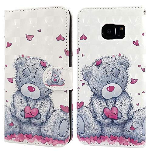 Ailisi Samsung Galaxy S7 Edge Case, 3D visual Cute Love heart Teddy bear Leather wallet flip case magnetic protective cover with shockproof TPU, Stand function, Card Slots +1 pcs Lanyard Strap