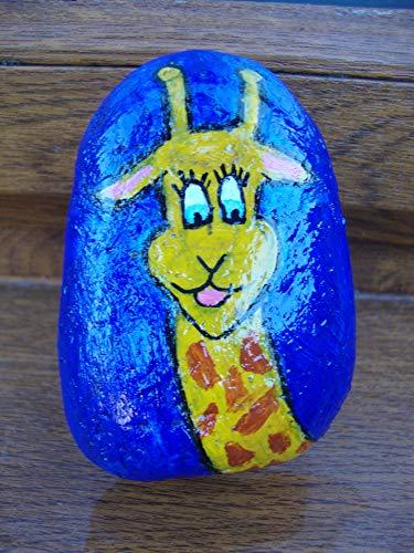 VickyHopeArt Jirafa Pebble Art – piedra pintada a mano, recuerdo, adorno de jardín, pisapapeles