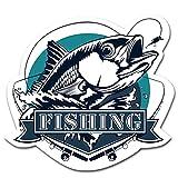 Finest Folia Pegatinas de pez en estilo retro de pesca, pegatinas vintage para coche, barco, caja de pesca, accesorios de pesca, resistente a la intemperie (07 Fishing, Petri Heil)