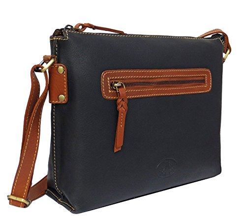 Damen Leder Tasche, Umhängetasche Leder, Damentasche, Ledertasche, Schultertasche Leder, Handtasche, Damen Handtasche, Echtleder - Schwarz