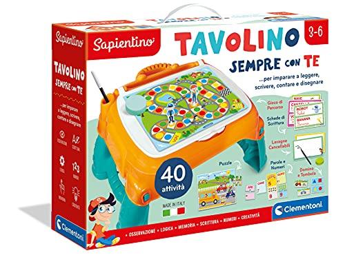 Clementoni - 13346 - Sapientino - Tavolino Sempre con Te, 40 attività, tavolo con giochi educativi, banchetto per scrivere e disegnare - gioco educativo 3 anni - Made in Italy