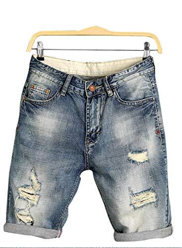 CORAFRITZ Pantaloncini Skinny Strappati da Uomo Jeans Pantaloni Casual in Denim con Cerniera con Pantaloncini Elasticizzati tascabili Jeans Vintage