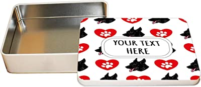646baf016 Style In Print Aluminum Metal Tin Custom Cierny Sery Dog Heart Paws Pattern  Adults Trinket Box