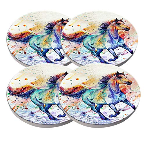 Watercolor Horse Coasters - Round Drinks Absorbent Stone Coaster Set with Ceramic Stone and Cork Base for Kinds of Mugs and Cups Water Cube Set of 4